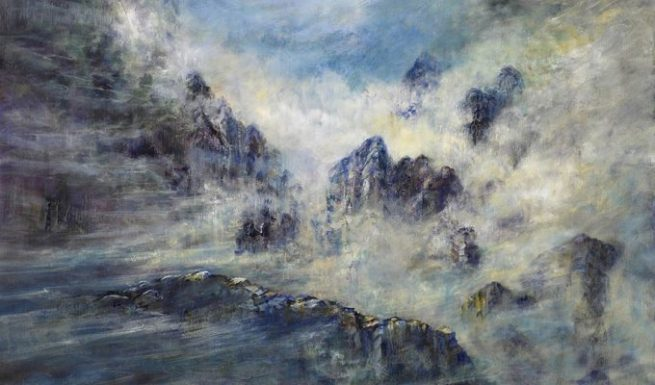 Diana Mackie Painting Rocks and Clouds