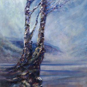 Diana Mackie Painting Blue Tree