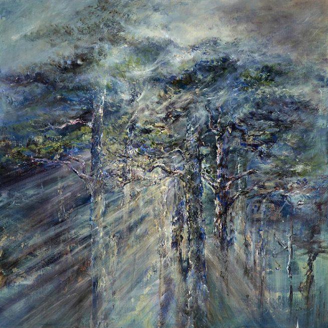 Diana Mackie Painting Sunlight Through Pine Trees