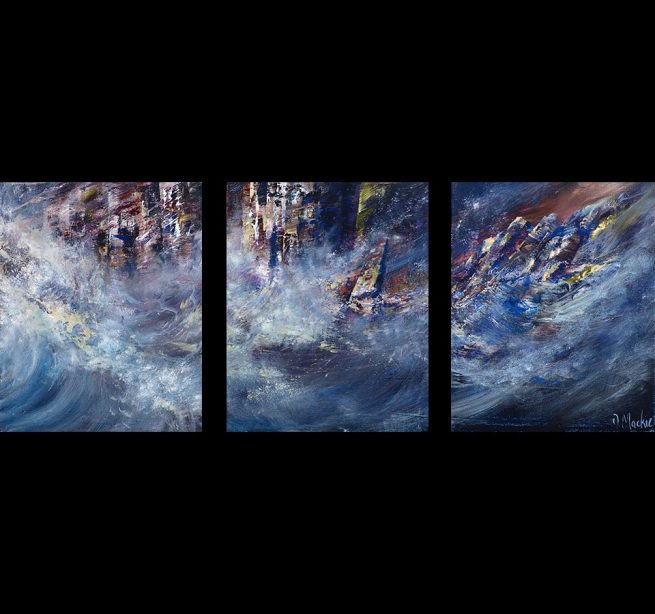 Diana Mackie Paintings Rock Faces Triptych