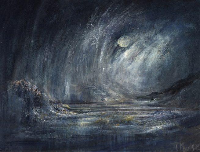 Diana Mackie Painting Full Moon and Heavy Rain