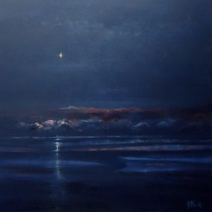 Diana Mackie Painting Venus Over the Outer Hebrides