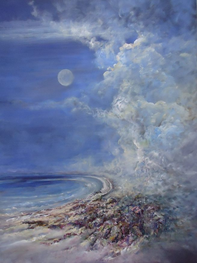 Diana Mackie Painting Moon Appearing Over Coral Beach Isle of Skye